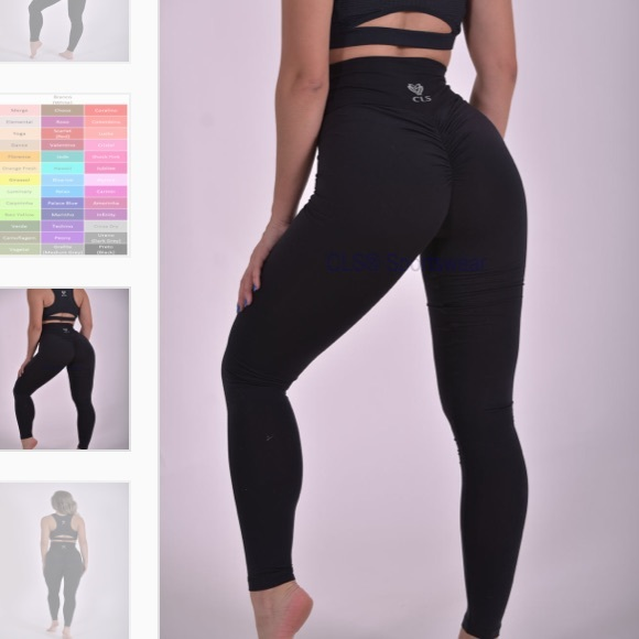 9e6f4df62b0c8 CLS Sportswear Pants | Black Scrunch Butt V Waist Leggings Workout ...